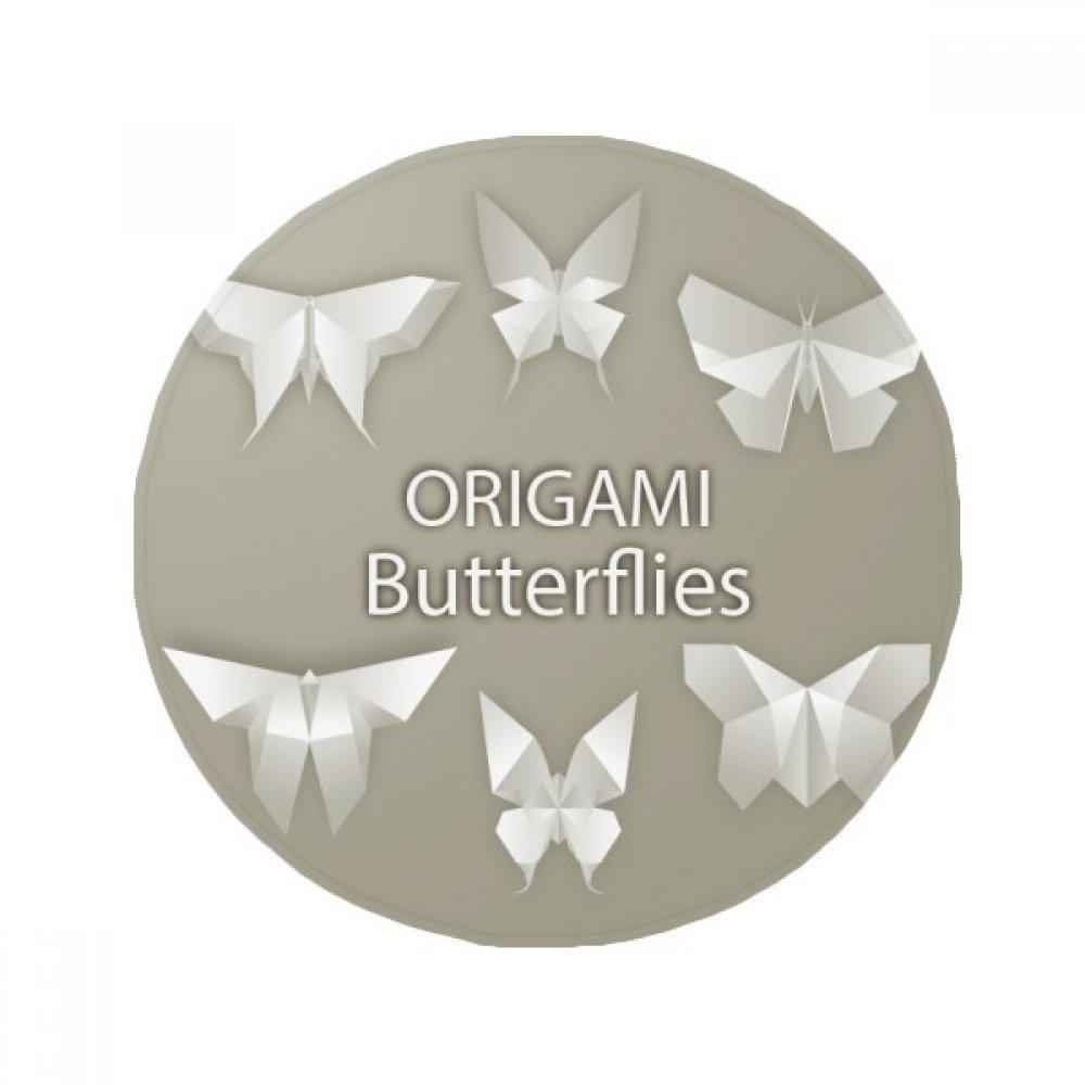 DIYthinker White Abstract Butterfly Origami Pattern Anti-Slip Floor Pet Mat Round Bathroom Living Room Kitchen Door 80Cm Gift
