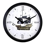 """JustNile 10"""" Silent Sweep Movement Nautical Wall Clock with Pirate Ship Pattern Design"""