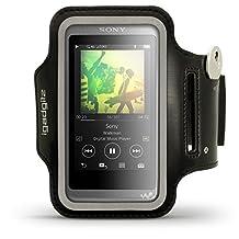 iGadgitz Reflective Black Sports Jogging Gym Armband for Sony Walkman NW-A35 MP3 Player with Key Slot