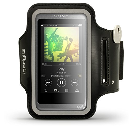 (iGadgitz Reflective Black Sports Jogging Gym Armband for Sony Walkman NW-A35 NW-A40 NW-A45 MP3 Player with Key Slot)