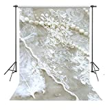 FUERMOR Background 5x7ft Pearls Under White Hole Net Photography Backdrop Photo Props Wall Decor RQ043