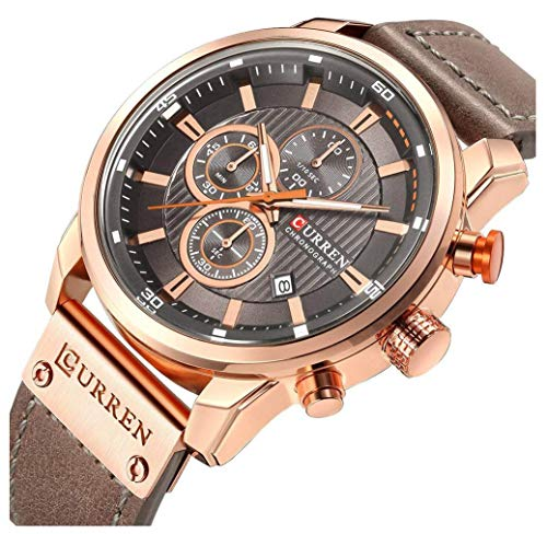 Men Sport Chronograph Quartz Watch Brown Leather Strap Date 30M Waterproof Military Male Wrist Watch (Rose Gold & Gray)