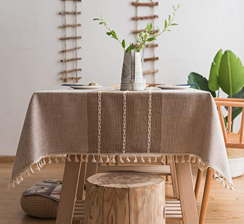 LINENLUX Striped Cotton Linen Tablecloth/Table Cover with Tassel Coffee Striped Square/Round 55 X 55 in