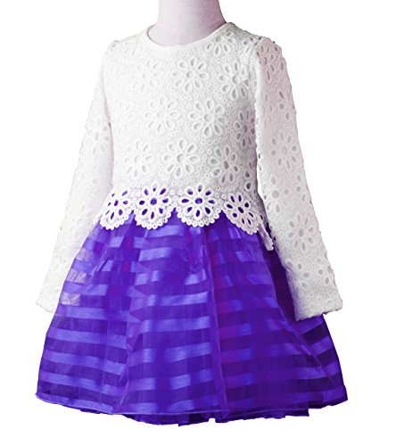 WEONEDREAM Baby Girls' Party Dress with Long Sleeves Striped Crochet Lace Flower Patchwork Size 4T 5T Birthdays Prom Tutu Ball Gowns(130, White Purple) (Crocheted Girls Dress)