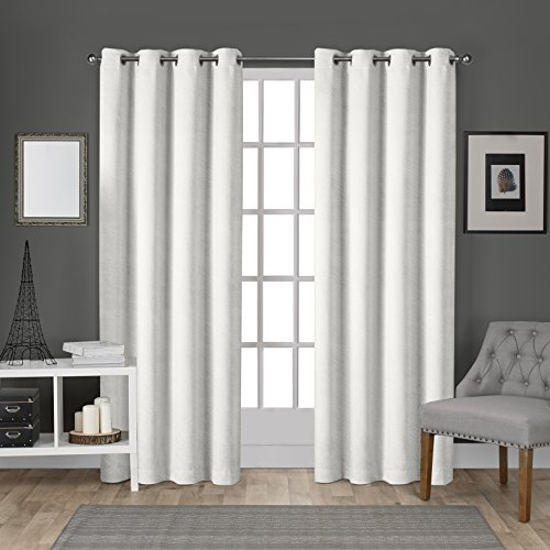 Exclusive Home Curtains Velvet Heavyweight Grommet Top Window Curtain Panel Pair, Winter White, 54x96 Top Window Panel