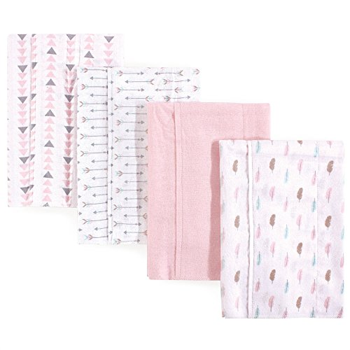 Luvable Friends Baby Layered Flannel Burp Cloth, Girl Feathers 4Pk, One Size