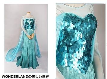 34f80b83bf150 WONDERLAND アナと雪の女王 Frozen Elsa cosplay エルサ ドレス コスプレ衣装 子供サイズS-L