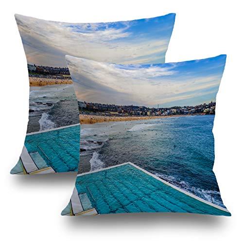 Shrahala Beach Pillow Covers, Decorative Pillowcases 18x18 inch Set of 2 Beach Landscape Swimming Australia Cushion Case for Sofa Bedroom Car Throw Pillow Covers Cushion Cover 45cm x 45cm