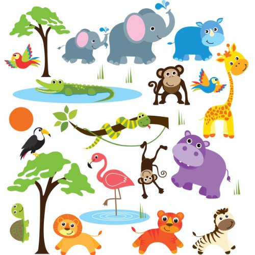Safari Adventure Decorative Peel & Stick Wall Art Sticker Decals Baby Nursery Wall Decals