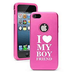 Apple iPhone 5c Hot Pink CD308 Aluminum & Silicone Case Cover I love my Boyfriend