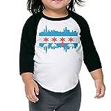 Chicago Flag Skyline Bear Baseball Jersey Toddler Shirt 3/4 Sleeves Raglan Toddler Tops