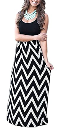 790fe8e445 ReachMe Womens Chevron Tank Dress Loose Maxi Dresses with Pockets Casual  Summer Dress(Black White
