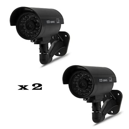 Camara seguridad simulada x2 unidades vigilancia luz led a pilas para pared