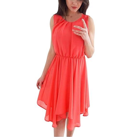 Kleid Damen Kolylong® Frauen Elegant Chiffon Ärmelloses Kleid Sommer  Vintage Kurz Kleider Festlich Kleider Knielang 747dfaf07d
