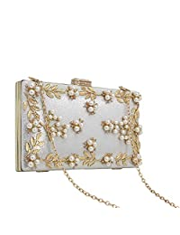 KEENICI Women Clutches Pearls Evening Bag Clutch Purse Bags with Glitter Floral Rhinestone