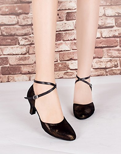 Women's Ballroom Dance Latin Bronze Fashion Minitoo Leather Suede Salsa Heel 6cm Tango Sandals 0FxqXXdY