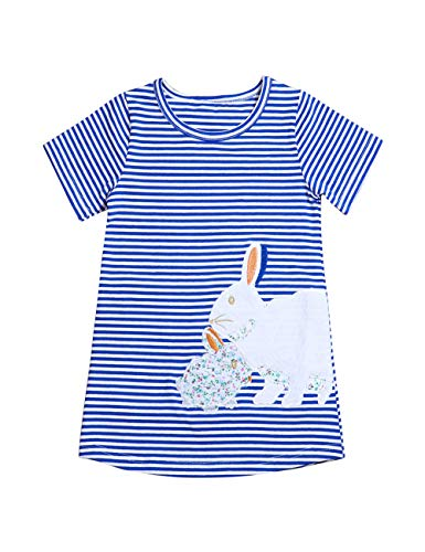 Little Girls Easter Outfit Cute Cartoon Bunny Striped Casual Summer Dresses (6-7T) Blue ()