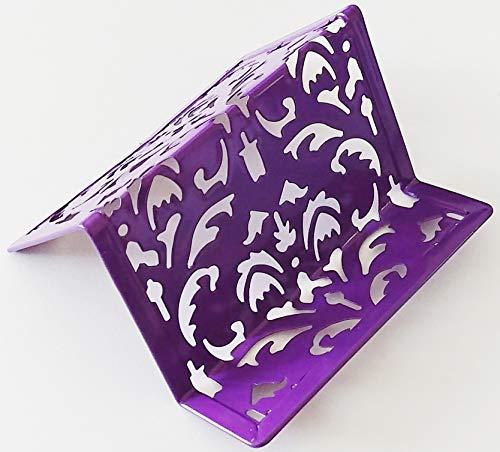 - Purple Fleur-de-lis Pattern Design Stylish Fancy Professional Metal Business Card Holder - Office Desk Secretary Boss Realtor