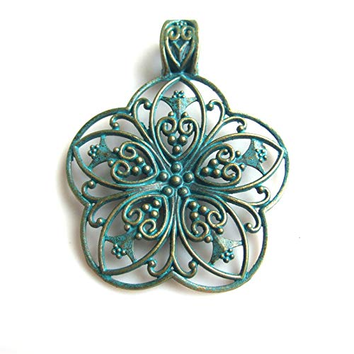 Large Verdigris Opened Filigree Flower Charms Pendants | for Necklace | Jewelry DIY Handmade (5pcs)