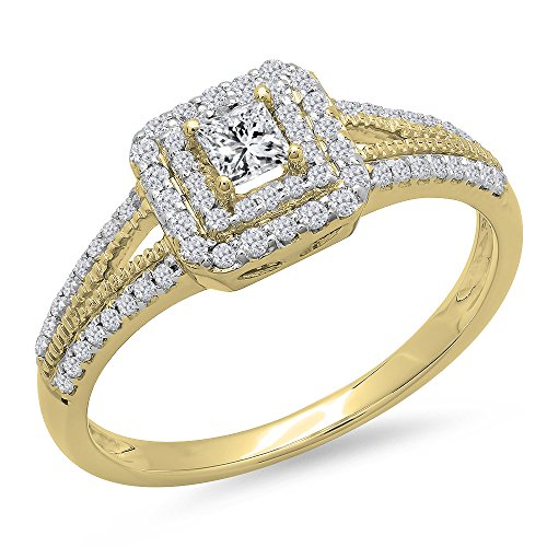 (Dazzlingrock Collection 0.50 Carat (ctw) 14K Princess & Round Cut Diamond Halo Engagement Ring 1/2 CT, Yellow Gold, Size 7)