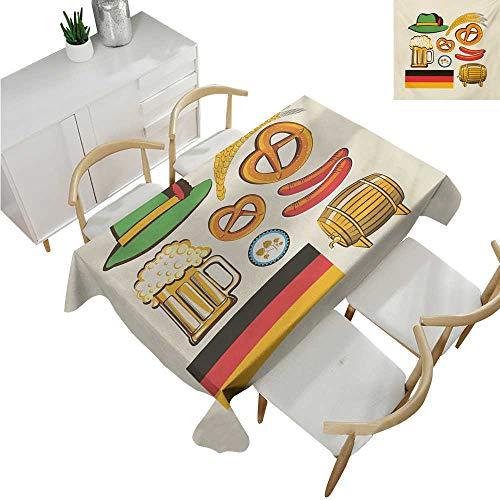 familytaste German,Oblong Tablecloth,Oktoberfest Symbols Wheat Sausage Beer and Pretzels Colorful Bavarian Arrangement,Table Cloth Home Decoration 70
