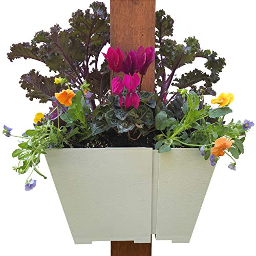 (Adjustable Hanging Planter: Modern, Space Saving Square Container for Flowers and Herbs. Design Outdoor Vertical Gardens on Porch Posts, Patios, Pergolas and More.)
