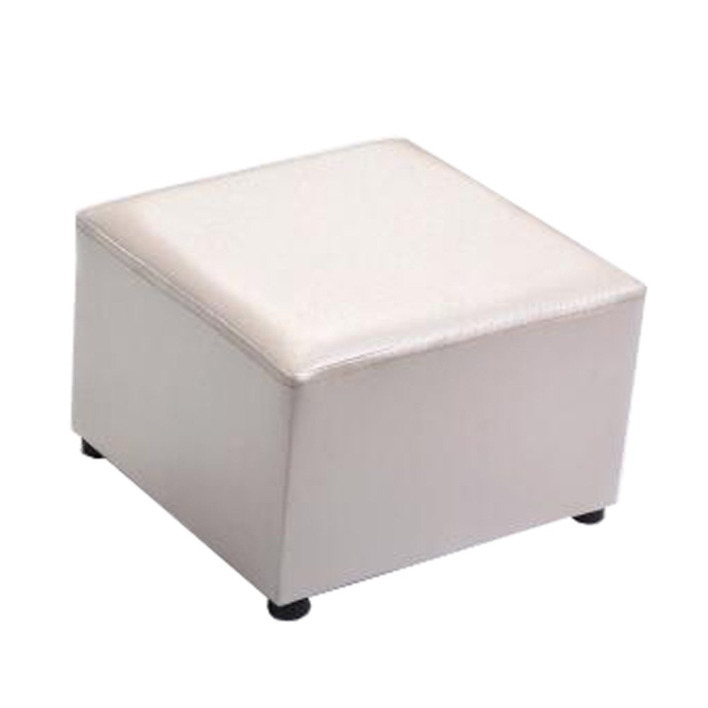 Fashionable Square Faux Leather Modern Small Stool Table Stool Sofa Pier Ottoman Stool, Beige Kylin Express