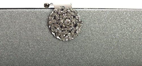 Fiesta cm de Sólida Dama y LxAxP 26x10x5 Reluciente tipo Negro Negro para Estructura Diamante Mano con Cierre Redondo de tipo Bolso Tela BHBS qwHYA0x