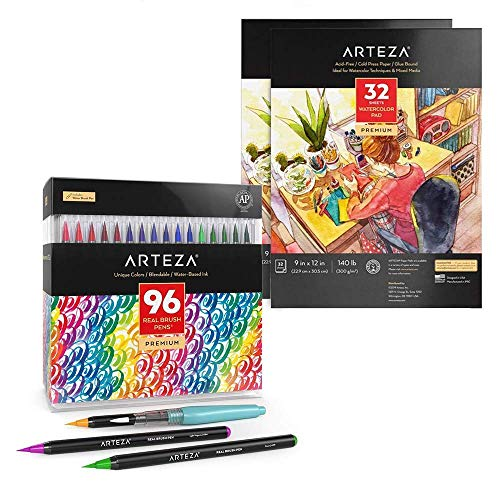 Arteza Real Brush Pens, 96 Paint Markers and Watercolor Paper 9x12 Inch, Pack of 2, 64 Sheets (140lb/300gsm) Bundle for Painting, Drawing, Coloring with Water Brush