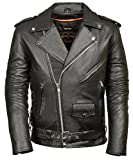 TALL MENS CLASSIC BIKER JACKET HALF BELT & SIDE LACES