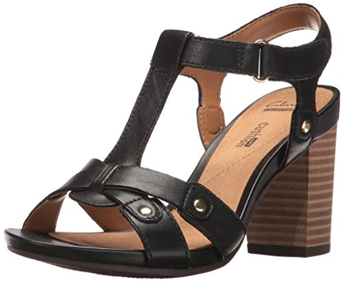 CLARKS Women's Banoy Valtina Dress Sandal, Black Leather, 10 M US (Clarks Dress Sandals)