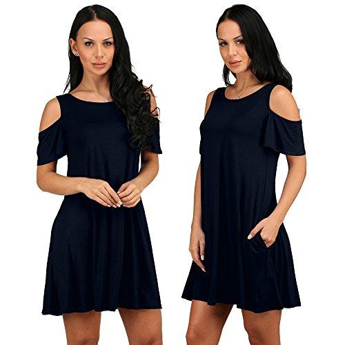 Vestido De Las Mujeres, Ularma Mujer Verano Algodón Suelto Sólido Fuera De Hombro Casual Vestido De Mini Vestido Marina