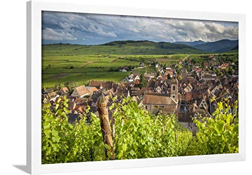 ArtEdge Village of Riquewihr, Along The Wine Route, Alsace Haut-Rhin France by Brian Jannsen, White Wall Art Framed Print, 20x30, Unmatted -