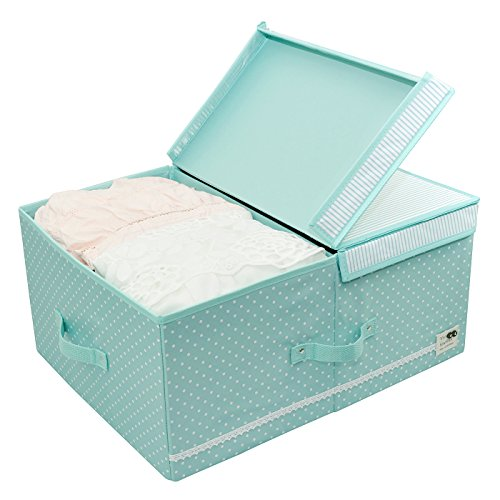 Collapsible Clothes Organizer Basket Bins with Over-sized Space, Removable Dividers, Handles and Cover for Under Bed Storage, 60l (Mint Green)