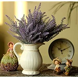 WinnsFlora 4 Branches (Pcs) Artificial Lavender Fields Flower Bouquet Approx 100 Dual Color Purple Green Leaf Stems For Office Front Desk Reception Home Party Wedding Floral Arrangements Decor 57