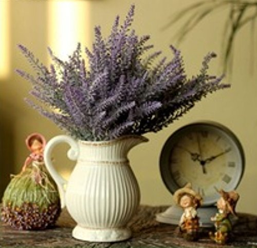 WinnsFlora 4 Branches (Pcs) Artificial Lavender Fields Flower Bouquet Approx 100 Dual Color Purple Green Leaf Stems For Office Front Desk Reception Home Party Wedding Floral Arrangements Decor (Stem Lavender)