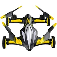 Yliyaya JJRC H23 Headless Mode 2.4GHz 4CH 6-Axis Stunt Flying Car RC Quadcopter Drone with Air&Ground Dual-mode & LED Lights & 360°Rolling Action (Yellow)