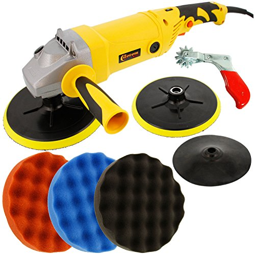 Custom Shop Heavy Duty Variable Speed Polisher with a Professional 3 Waffle Pad Buffing and Polishing Kit by Custom Shop