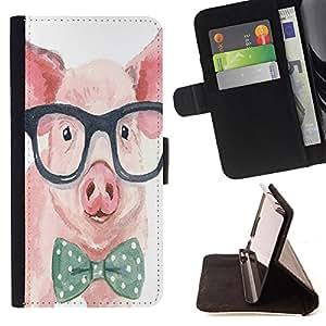 Super Marley Shop - Funda de piel cubierta de la carpeta Foilo con cierre magn¨¦tico FOR Samsung Galaxy S6 G9200- Pig Head Pattern Cute