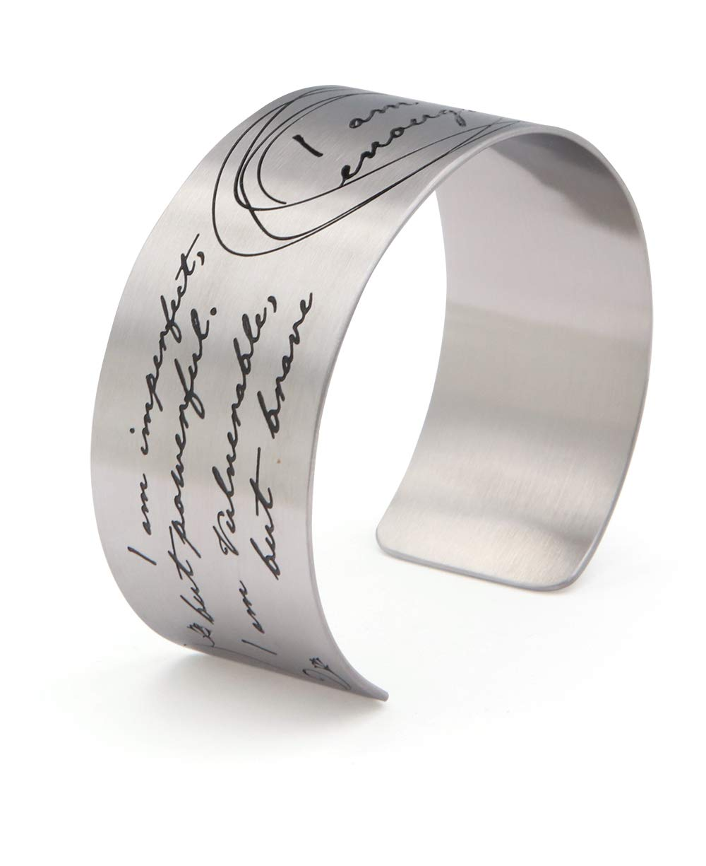 Vera Viva I Am Enough Artistic Calligraphy Adjustable Cuff Bracelet | Made of Stainless Steel | Open Designs Fit Most Wrist Size | Cuff Size 6.5 Inches by Vera Viva (Image #2)