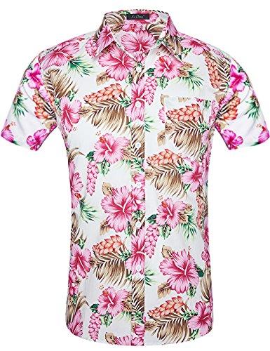 XI PENG Men's Tropical Short Sleeve Floral Print Beach Aloha Hawaiian Shirt (Red White Hibiscus Flower, ()