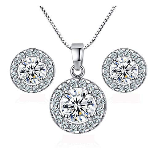 Fuxinzon Fashion Shiny Rhinestone Pendent Crystal Necklace Stud Earrings Wedding Round Necklace Earrings Jewelry ()