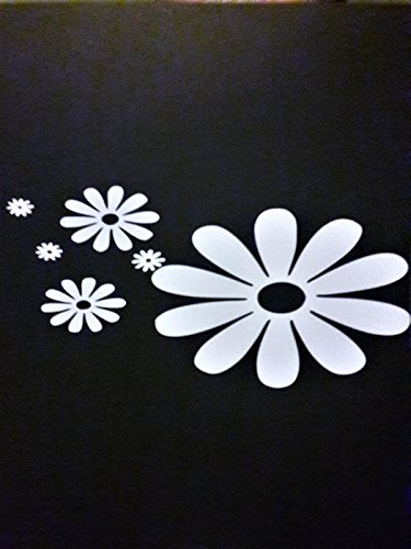 Daisy Flower Hippie Free Spirit Vinyl Decal Sticker|WHITE|Cars Trucks Vans SUV Laptops Wall Art|7.5
