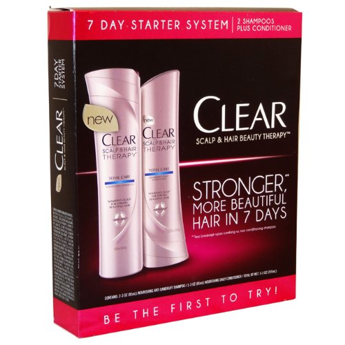 Clear Scalp & Hair Beauty Therapy 7 Day Starter System - includes 2 Total Care nourishing shampoos and 1 Total Care nourishing conditioner. The Total Care line is suitable for all hair types.