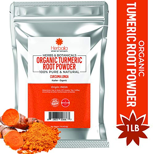 Organic Turmeric Root Powder 1 Pound, Wholefood Dietary Supplement 100% Pure, Non-GMO, Gluten-Free & Kosher Turmeric Powder, 1Lb