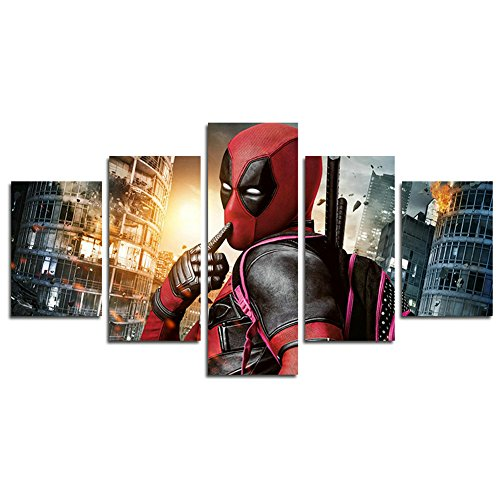 AtfArt 5 Piece Deadpool movie poster decoration (No Frame) Unframed HB25 50 inch x30 inch -