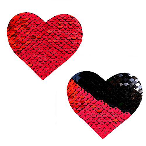 Neva Nude Sookie Red & Black Sequin I Heart U Nipztix Pasties Nipple - Heart Red Sequin