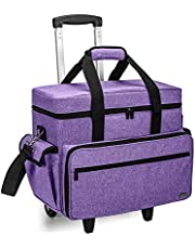 Teamoy Sewing Machine Case on Wheels, Rolling Sewing Machine Tote with Wheels and Bottom Wood Pad, Compatible with Singer, Brother and Most Majority Machines and Accessories