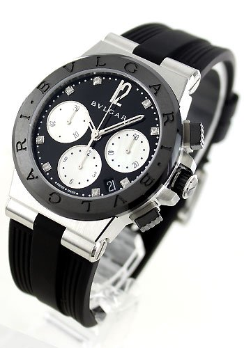 Bvlgari diagono negro Dial Automatic Winding Diamond 100 M impermeable dg37bsbcvdch/8 Reloj de pulsera