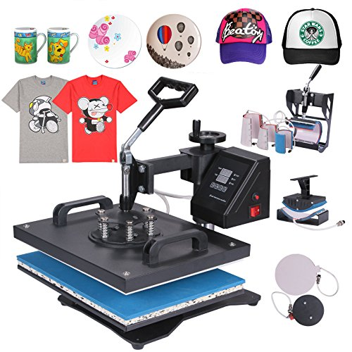 Mophorn Heat Press 8 in 1 15 X 15 Inch Multifunction Sublimation Heat Press Machine Desktop Iron Baseball Hat Press 1000W Digital Swing Away Transfer T Shirt Hat Mug (8IN1 15x15Inch)